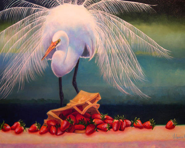 Egret Poster featuring the painting Egret With Strawberry Bag by Valerie Aune