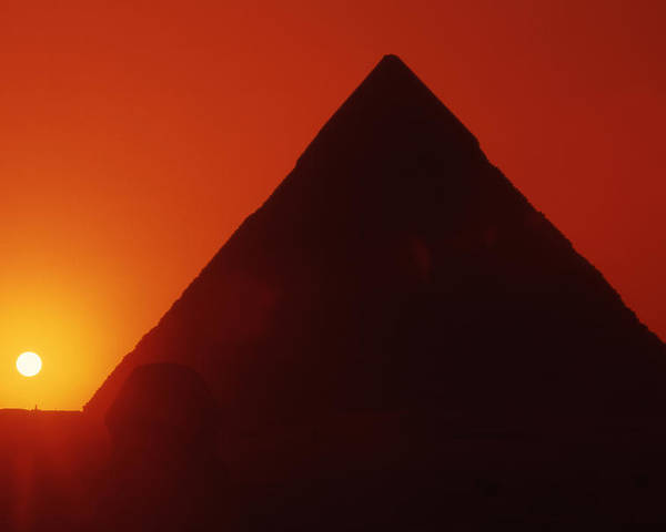 Ancient; Antiquity; Antiquated; Archaeology; Archaelogical; Atmospheric; Egypt Poster featuring the photograph Egypt. Sunset Behind The Sphinx And Chephren Pyramid. by Steve Outram