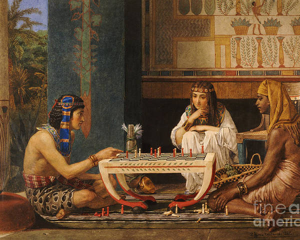 Egyptian Chess Players Poster featuring the painting Egyptian Chess Players by Sir Lawrence Alma-Tadema