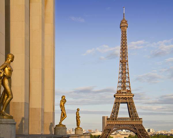 Historic Poster featuring the photograph Eiffel Tower Paris Trocadero by Melanie Viola