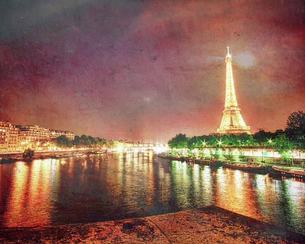 Eiffel Poster featuring the photograph Eiffel Tower Reflections by Sharon Ann Sanowar