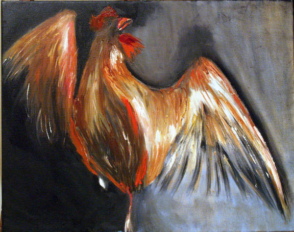 Rooster Chicken Red Poster featuring the painting El Gallo by Niki Sands