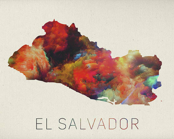 El Salvador Watercolor Map Poster by Design Turnpike