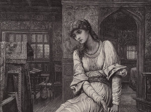 Elaine; Portraits; Women; Fashions; Clothing; Interiors Poster featuring the drawing Elaine by John Melhuish Strudwick