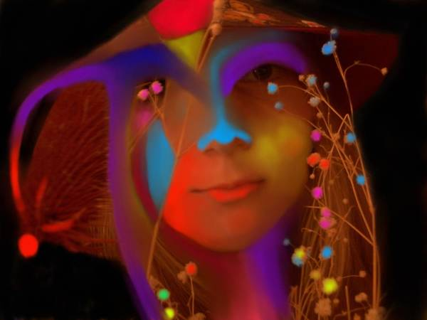 Face Poster featuring the digital art Electric Compassion by Peter Shor