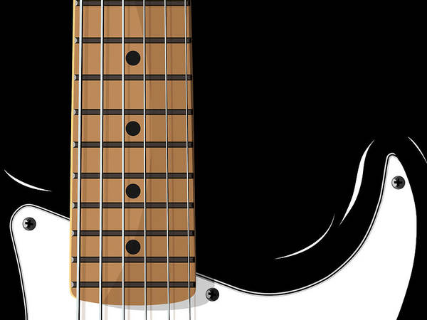 electric Guitar Poster featuring the digital art Electric Guitar by Michael Tompsett
