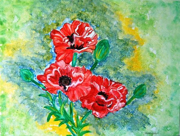 Poppies Flowers Red Yellow Green Blue Acrylic Watercolor Yupo Elegant Landscape Poster featuring the painting Elegant Poppies by Manjiri Kanvinde