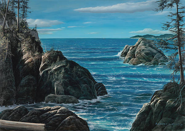 Seascape Sea Ocean Marine Elephants Elephant Waves Cove Island Island Poster featuring the painting Elephant Cove by Robert Stacey