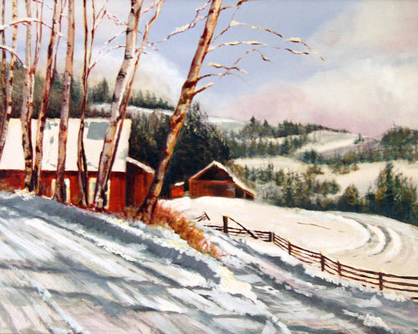 Snow Poster featuring the painting Elephant Mountain Ranch by Susan Moore
