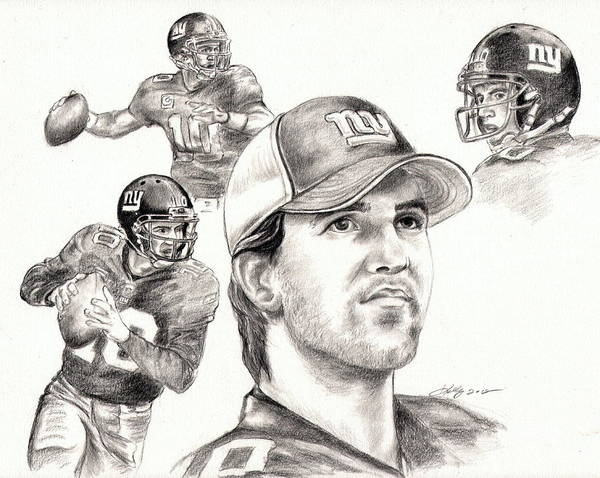 Eli Manning Poster featuring the drawing Eli Manning by Kathleen Kelly Thompson