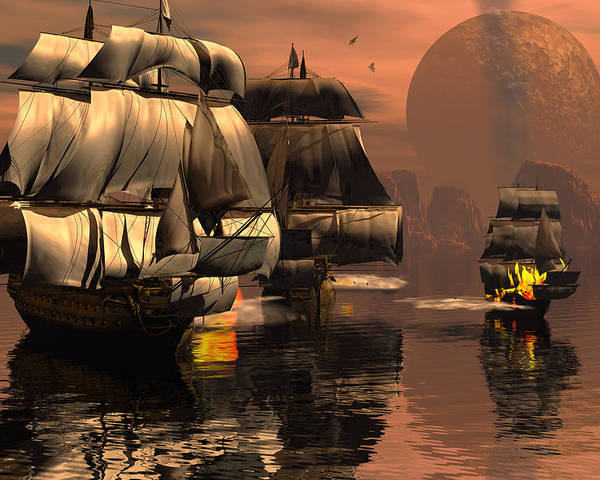 Bryce 3d Fantasy tall Ships Windjammer Battle Poster featuring the digital art Eliminating The Pirates by Claude McCoy