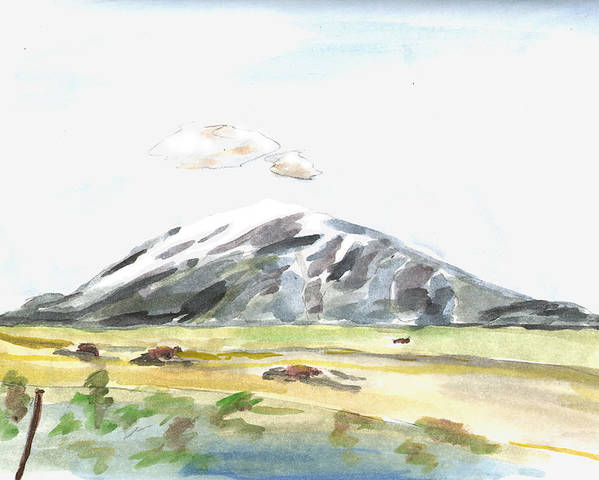 Kevin Callahan Poster featuring the painting Elk Mountain Wyoming by Kevin Callahan