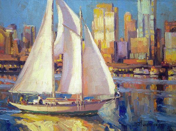 Seattle Poster featuring the painting Elliot Bay by Steve Henderson