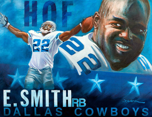 Emmit Smith Poster featuring the painting Emmit Smith Hof by Jim Wetherington