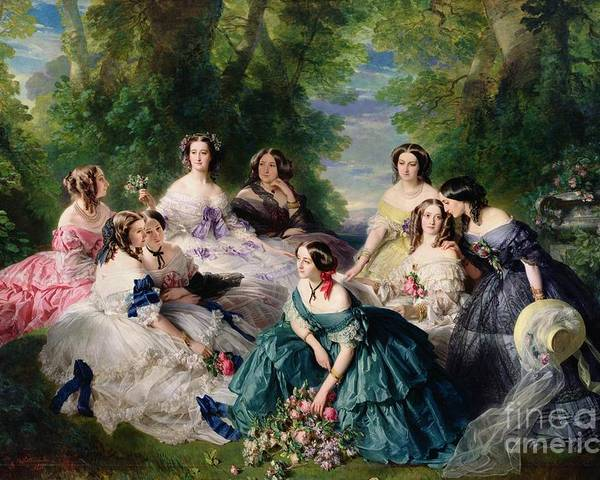 Empress Poster featuring the painting Empress Eugenie Surrounded By Her Ladies In Waiting by Franz Xaver Winterhalter