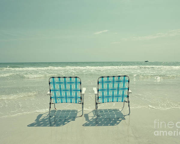 Chair Poster featuring the photograph Empty Beach Chairs by Edward Fielding