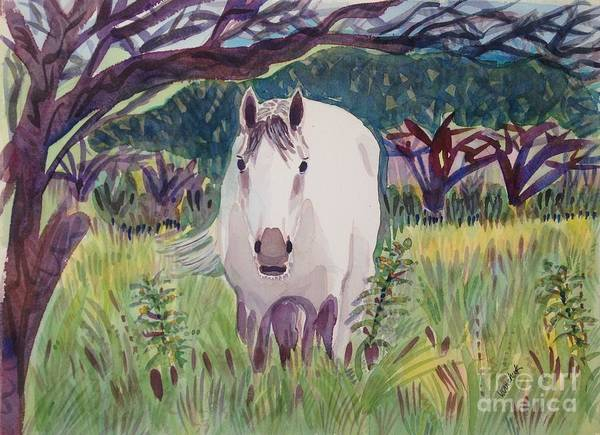Horse Poster featuring the painting En El Bosque by Virginia Vovchuk