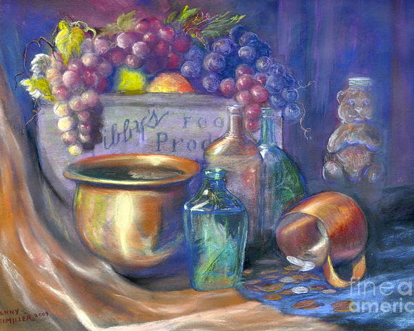 Pastel Art Work Poster featuring the painting Enchanced Still Life Honey Bear by Penny Neimiller