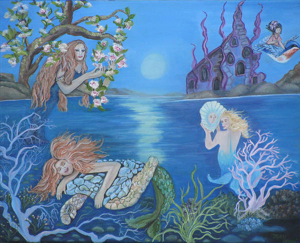 Mermaid Poster featuring the painting Enchanted Estuary by Mikki Alhart