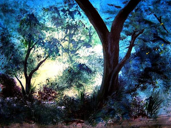 Landscape Poster featuring the painting Enchanted Forest by Sherri Patterson
