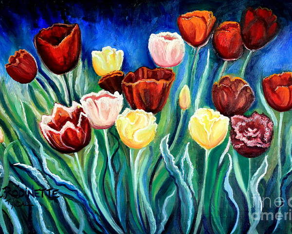 Tulips Poster featuring the painting Enchanted Tulips by Elizabeth Robinette Tyndall