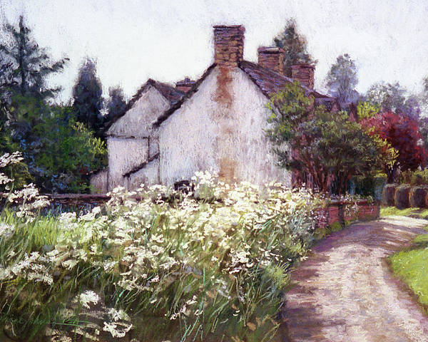 England Poster featuring the painting England Cottage by L Diane Johnson