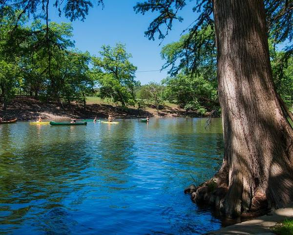 22c8d9105a7fc Guadalupe River Poster featuring the photograph Enjoying The Guadalupe  River - Camp Waldemar Texas by Mountain