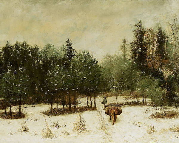 Entrance Poster featuring the painting Entrance To The Forest In Winter by Cherubino Pata