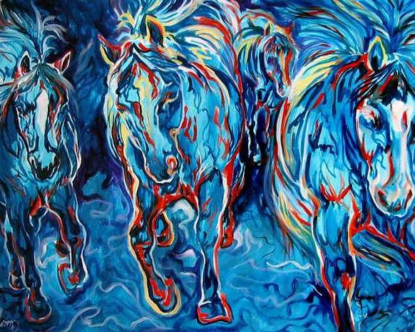 Horse Poster featuring the painting Equine Abstract Blue Four By M Baldwin by Marcia Baldwin