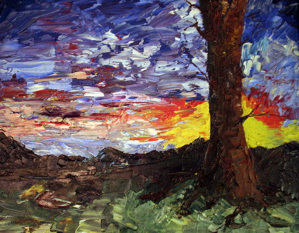 Sunset Poster featuring the painting Erda Sunset by Nila Jane Autry