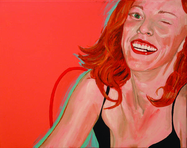 Red Head Poster featuring the painting Erin Winking by Kevin Callahan