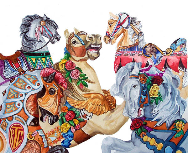 Carousel Horses Poster featuring the print Escapade by Bette Gray