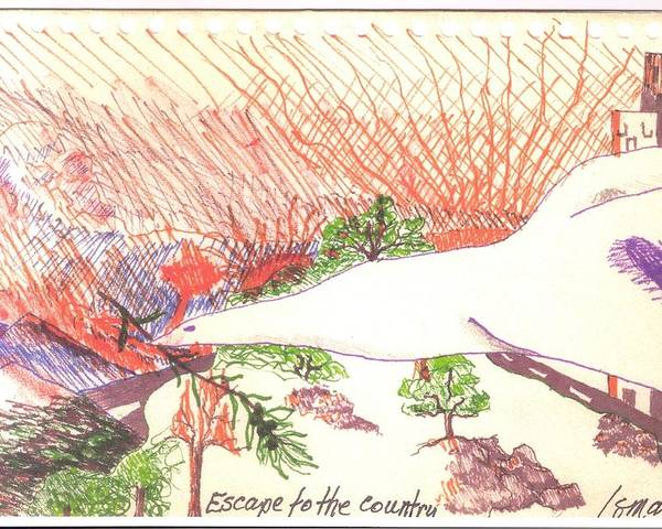 Flee Poster featuring the drawing Escape To The Country by Rod Ismay