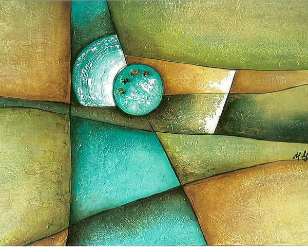 Contemporary Abstract Poster featuring the painting Esmeralda by Marta Giraldo