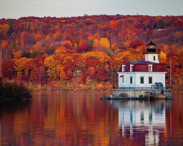 Lighthouse Poster featuring the photograph Esopus Lighthouse In Late Fall #1 by Jeff Severson