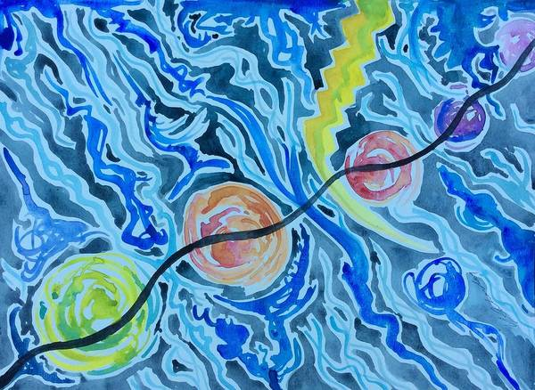 Poster featuring the painting Esoteric Mind Energy Converging by Michael Richardson