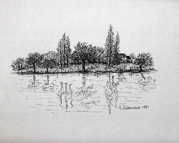 Landscape Poster featuring the drawing Etang by Muriel Dolemieux
