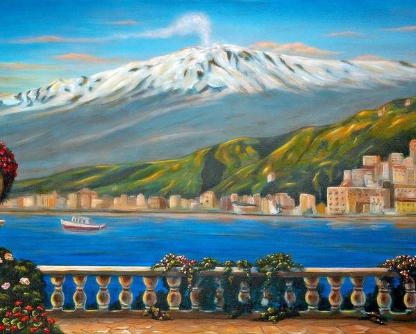 Angelica Dichiara Poster featuring the painting Etna Sicily by Italian Art