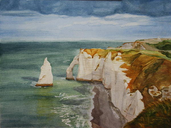 Seascape Poster featuring the painting Etretat by Monika Degan