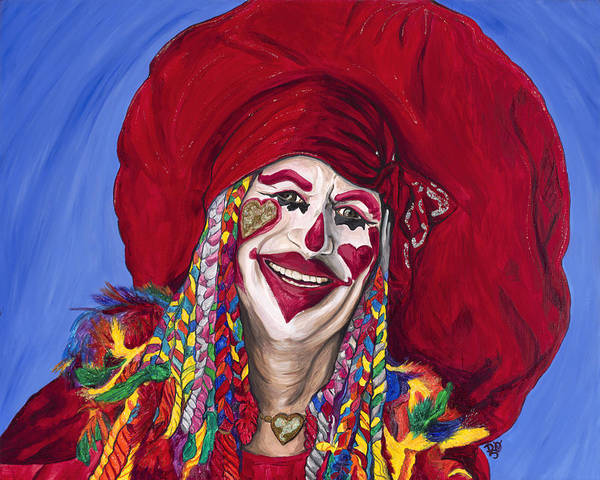 Glitter Poster featuring the painting Eureka Springs Clown by Patty Vicknair