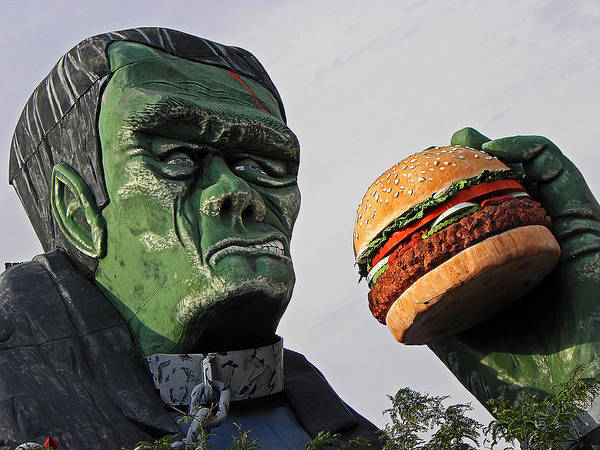 Frankenstein Poster featuring the photograph Even Frankie Loves A Burger by Elizabeth Hoskinson
