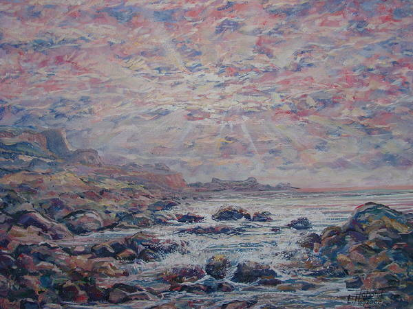 Seascape Poster featuring the painting Evening At The Beach by Leonard Holland