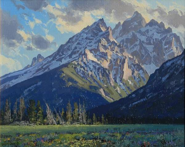 Landscape Poster featuring the painting Evening-cathedral Group by Lanny Grant