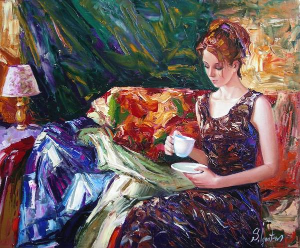 Figurative Poster featuring the painting Evening Coffee by Sergey Ignatenko