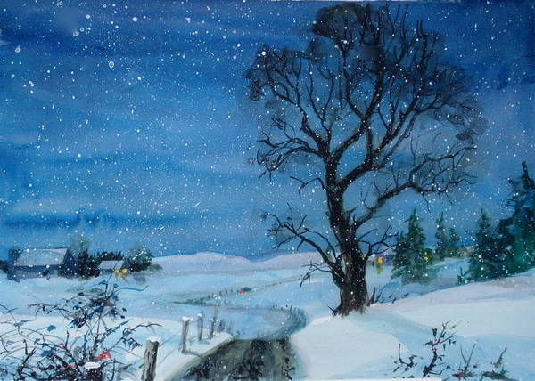 Snow Poster featuring the painting Evening Flurries by Faye Ziegler