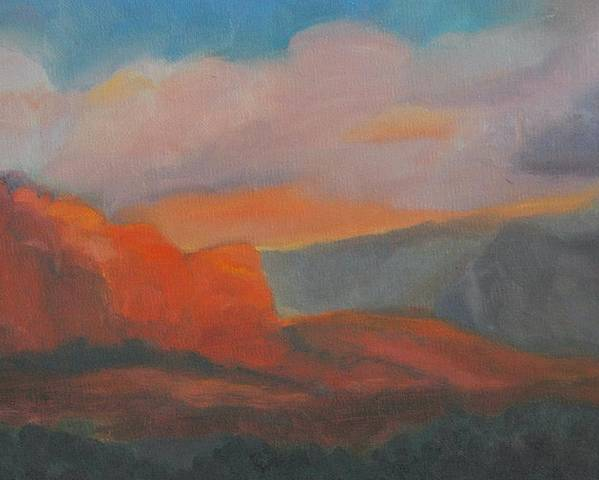 Landscape Poster featuring the painting Evening In Sedona by Stephanie Allison