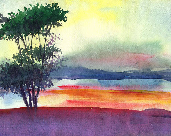 Water Color Poster featuring the painting Evening Lights by Anil Nene