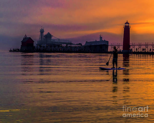 Grand Haven Poster featuring the photograph Evening On Lake Michigan At Grand Haven by Nick Zelinsky