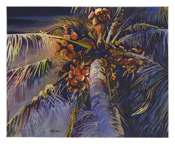 Evening Palm Coconuts Moonlight Hawaii Hawaiian Maui Kihea Brances Blue Watercolor Poster featuring the painting Evening Palm by Mike Hill