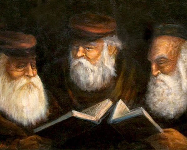 Praying Oldcountry Jewish  Men  Beards  Portraits  Books  Poster featuring the painting Evening Prayers by Edward Farber